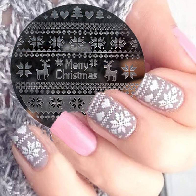 Christmas Nail Art Alphabet Snowflake Deer Lace Flower Design Nail ...