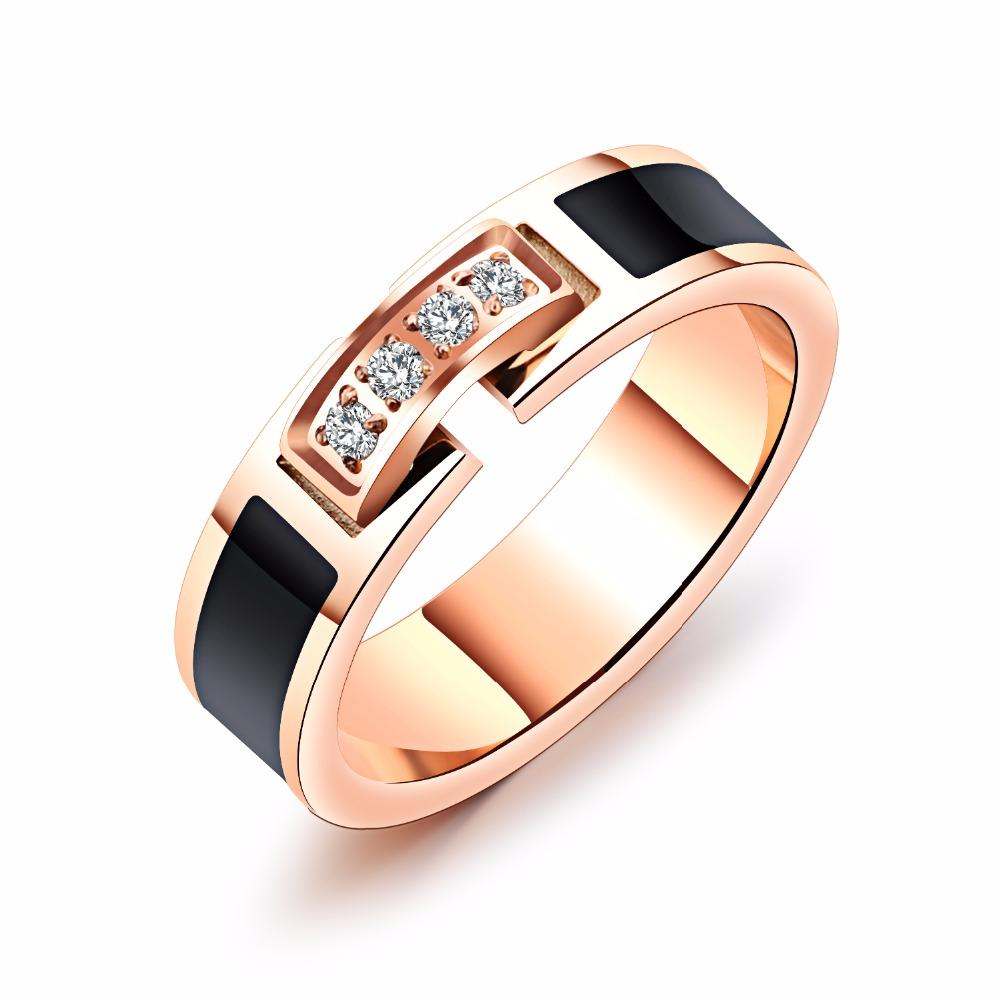 Fashion Rose Gold Color Stainless Steel Wedding Ring For Women Female Cubic Zirconia Party Finger Jewelry Gift Accessories 589