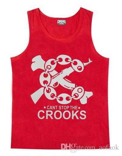 Hot sale Crooks and Castles loose hiphop summer men and women tank tops plus size xxxl top quality street beach sportwear