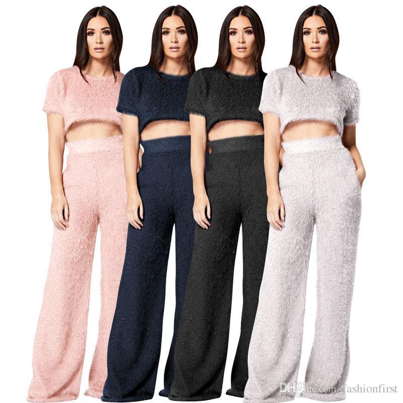 94bf90676ff Pink Gray Navy Black Women Crop Tops Long Pants Suit Set Set Fashion ...