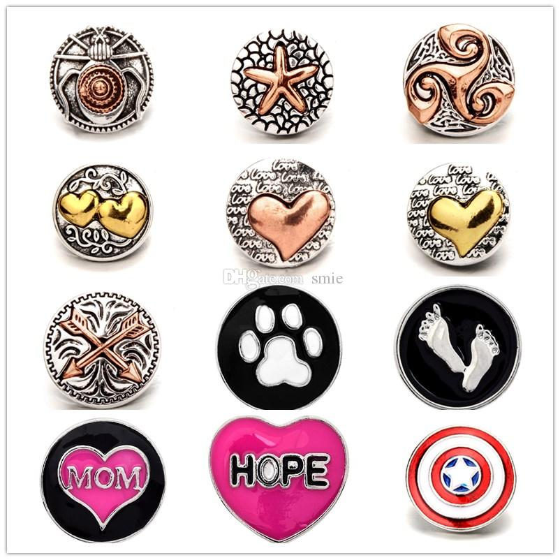 12styles Noosa Chunks Ginger Snap Jewelry heart 18mm Snap Button for DIY 18MM Snap Button Bracelet Earrings Ring