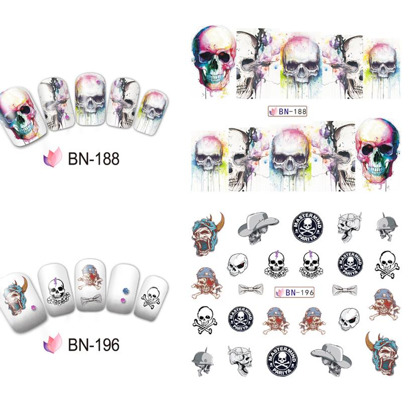 Skull Nail Decals Assortment Water Slide Halloween Nail Stickers