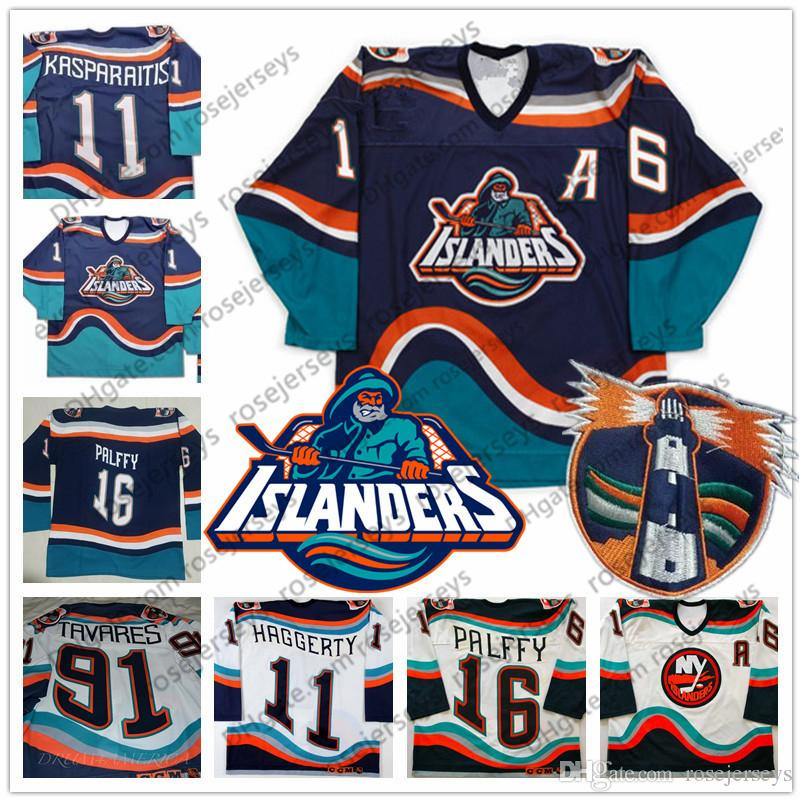 8be6d505e 2019 Custom New York Islanders Fisherman  16 Ziggy Palffy 91 Tavares 11  Darius Kasparaitis Vintage Hockey Any Number Name Blue White Jersey S 4XL  From ...