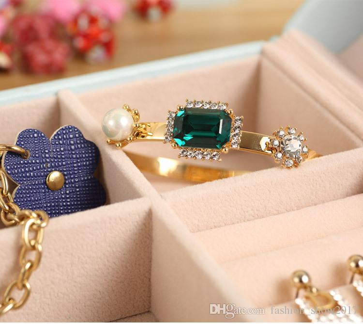 Pink White Blue PU Leather Jewelry Organizer Holder Container Casket Storage Box Women Rings Earrings Jewellery Makeup Case