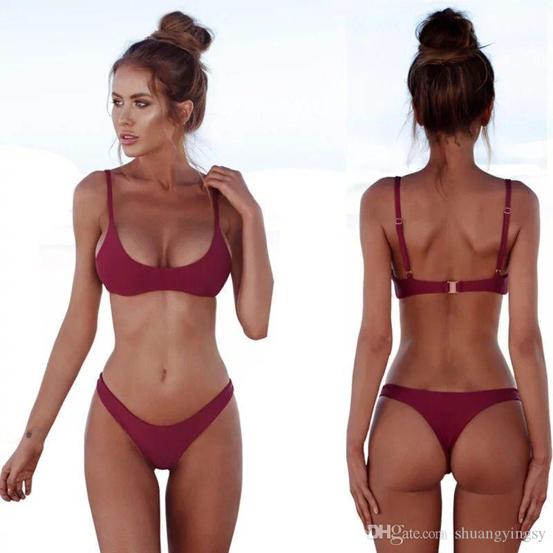 a6b80a8cd5 2019 SHUANG Solid Thong Bikinis Set 2018 Strip Female Swimwear Women Plus  Size Swimsuit Halter Swimming Suit Bathing Suit Biquini From Shuangyingsy