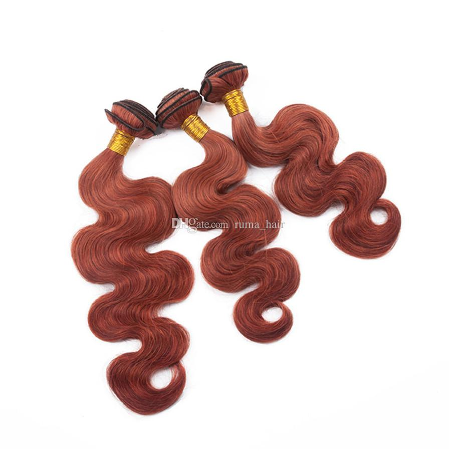 Dark Auburn With Lace Closure Body Wave Brazilian Virgin Human Hair Bundles With Lace Closure 4*4 Middle Free Three Part Fast Shipping
