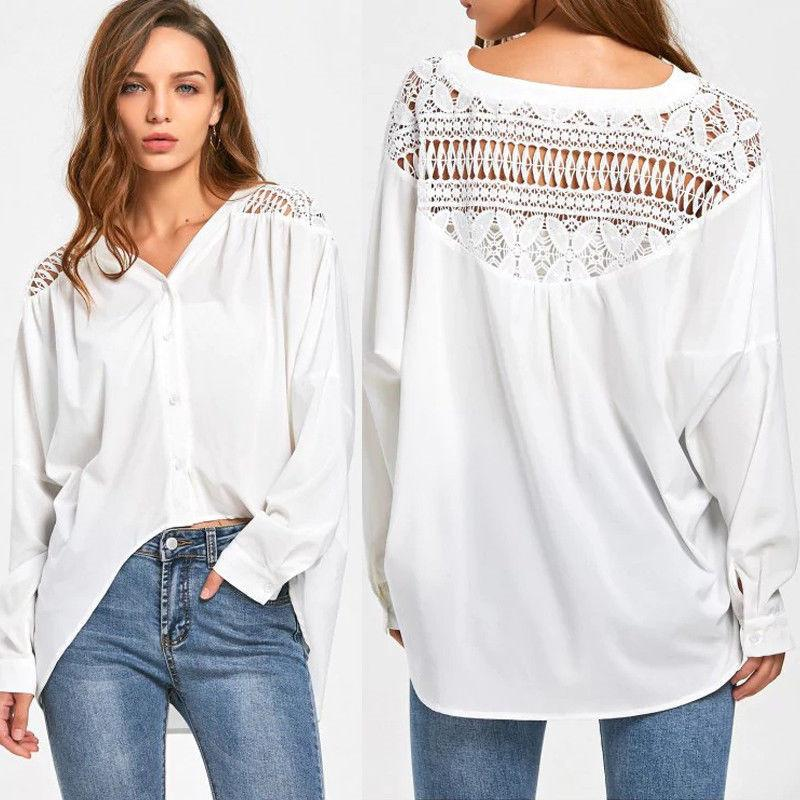 b37e942fa72 2019 Trendy Women Clothes Ladies Loose Casual Long Sleeve Button ...