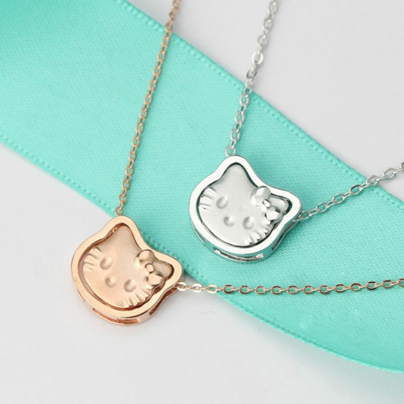 dc23a8b79 Sterling 925 Silver Hello Kitty Necklace Women Creative Lovely ...