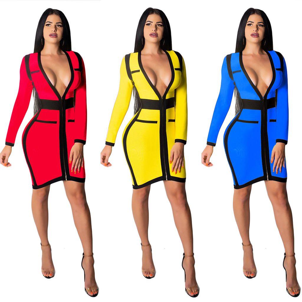 52b0c50e14f Designer Women Clothes Autumn Slim Party Dress Women Sexy Zipper Bodycon  Dress above Knee Fashion Deep V Neck Long Sleeve Patchwork Vestido Bodycon  Dresses ...