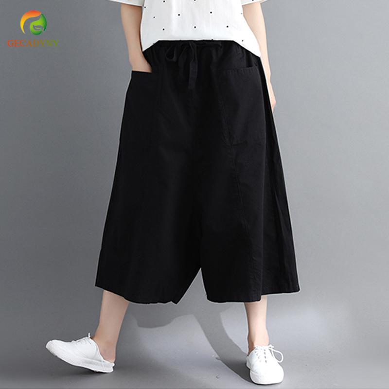 Loose Wide Leg Pants Women Cotton Linen Big Pockets Wide Leg Pants Trousers  Large Size Elastic Waist Capris Skirt Female UK 2019 From Hongxigua 9d9fea4e7