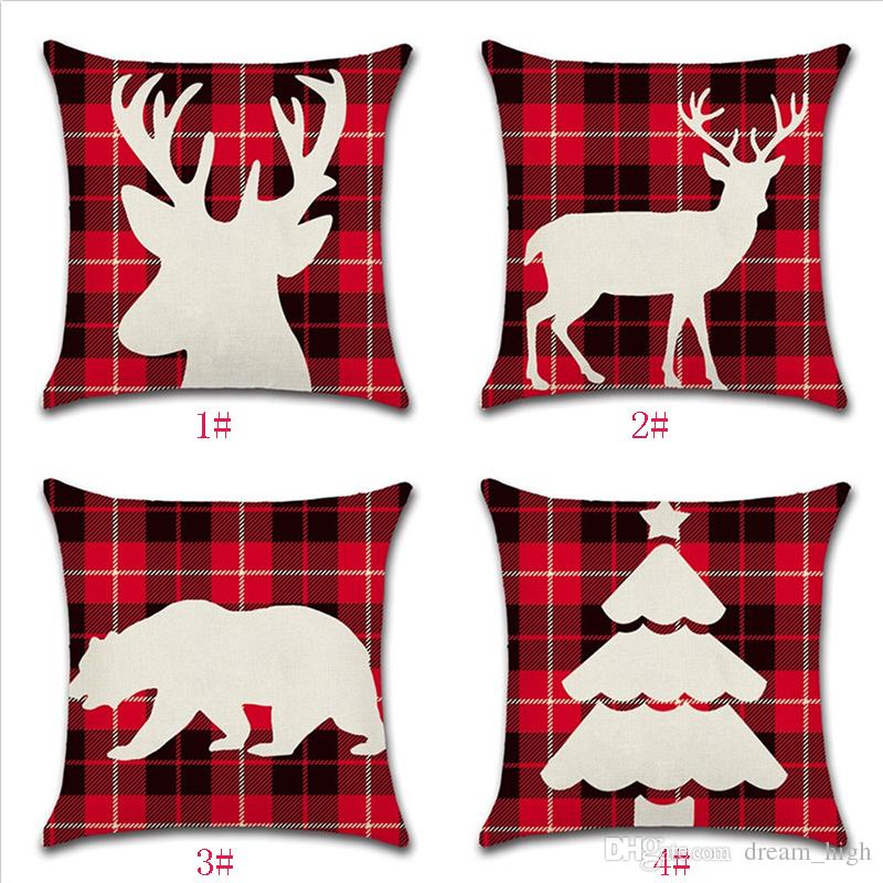 Christmas Decoration Plaid Pillow Case Linen Cotton Deer Red Color Chair Pillow Cover Sofa Cushion Cases For Sleeping Traveling Home Decor
