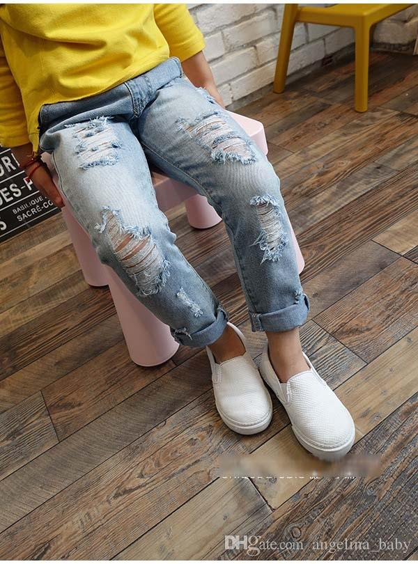 Children's denim pants 2018 New Fashion baby boys girls personality Frosted hole stretch jeans kids clothing