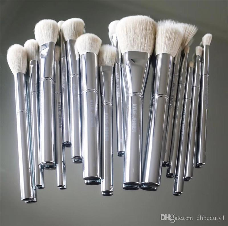 Kylie Jenner Silver Tube Brush 16pcs set Makeup Brushe Jenner Silver Tube Brush 16pcs set with bag Makeup Brushes for Valentine's Day Gifts