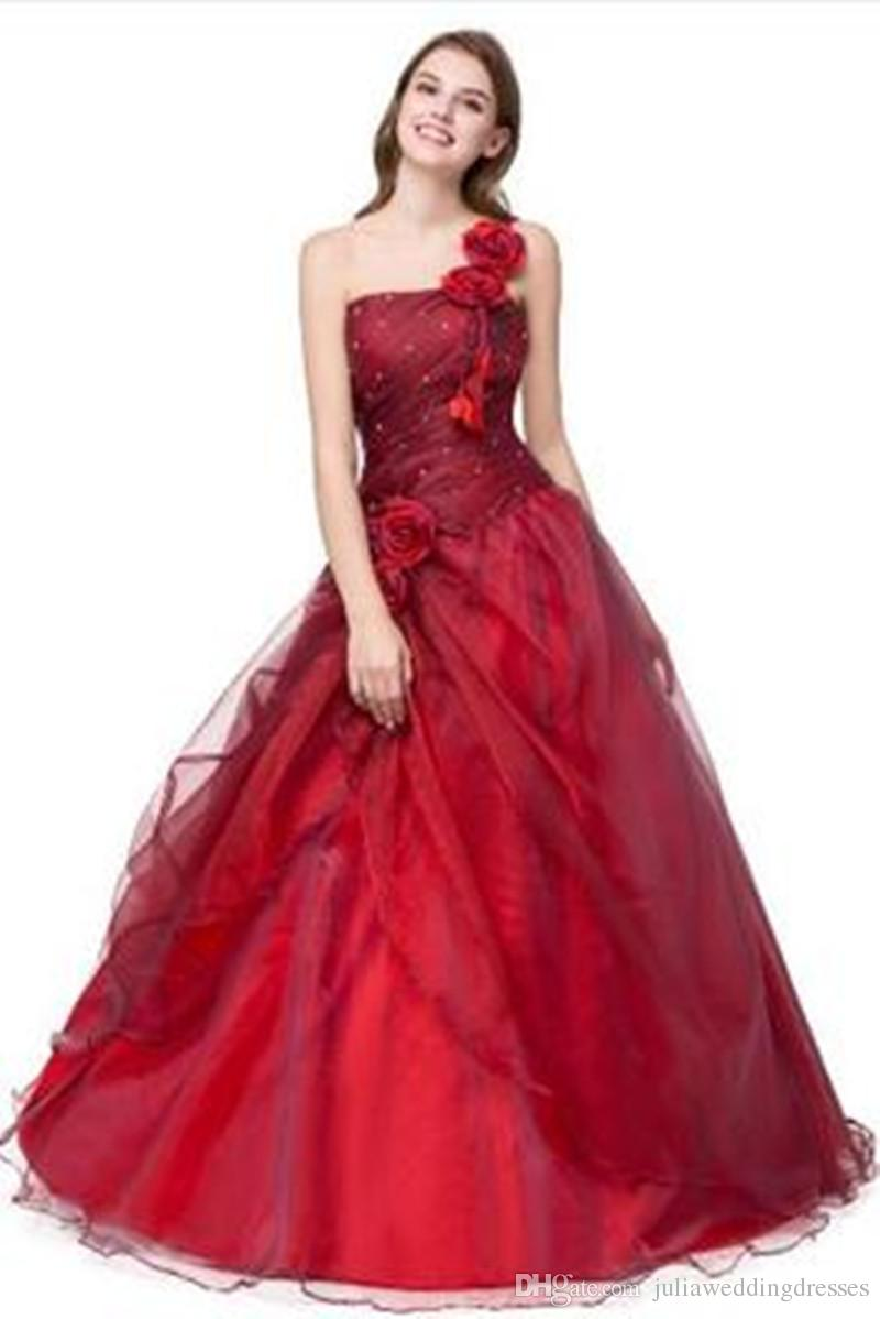 ae8138b9630 In Stock 2018 Sexy One Shoulder Flowers A Line Quinceanera Dress With  Sequines Organza Lace Up Sweet 16 Dress Vestido Debutante Gowns BQ138 Cheap Ball  Gown ...