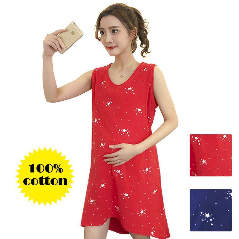 9539416b7 Compre Vestido De Maternidad 100% Algodón Ropa De Enfermería Ropa De Noche  Fina Para Mujeres Embarazadas Pijamas Cartoon Pijama Ropa De Cama De  Lactancia ...
