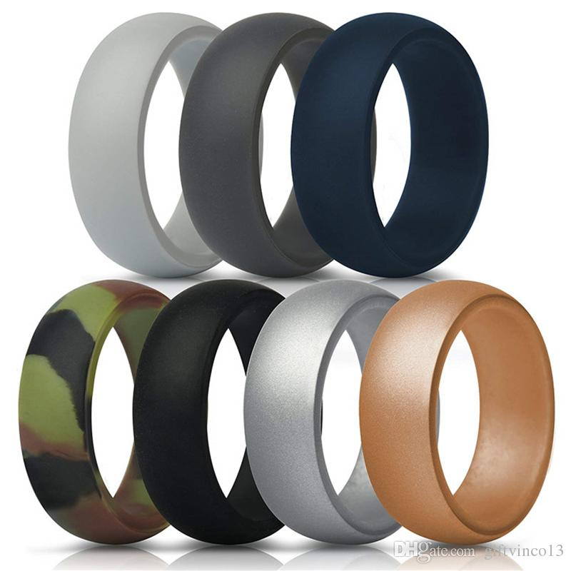 Silicone Wedding Band Rings For Men Women Comfortable Fit Rubber