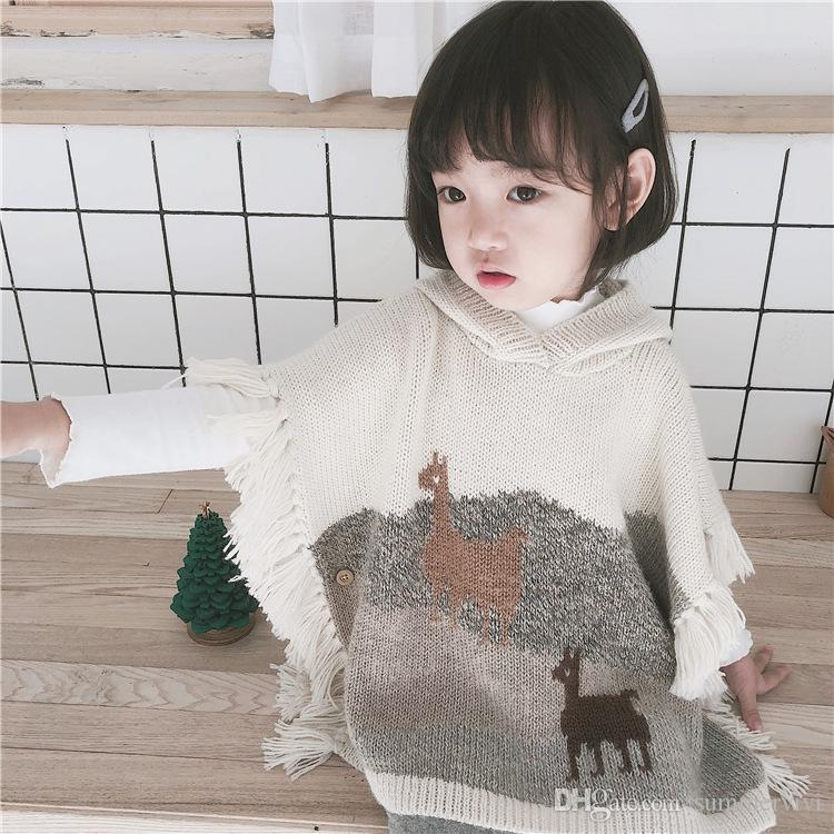Girls Shawl Fashion New Children Alpaca Pattern Knitted Sweater ...