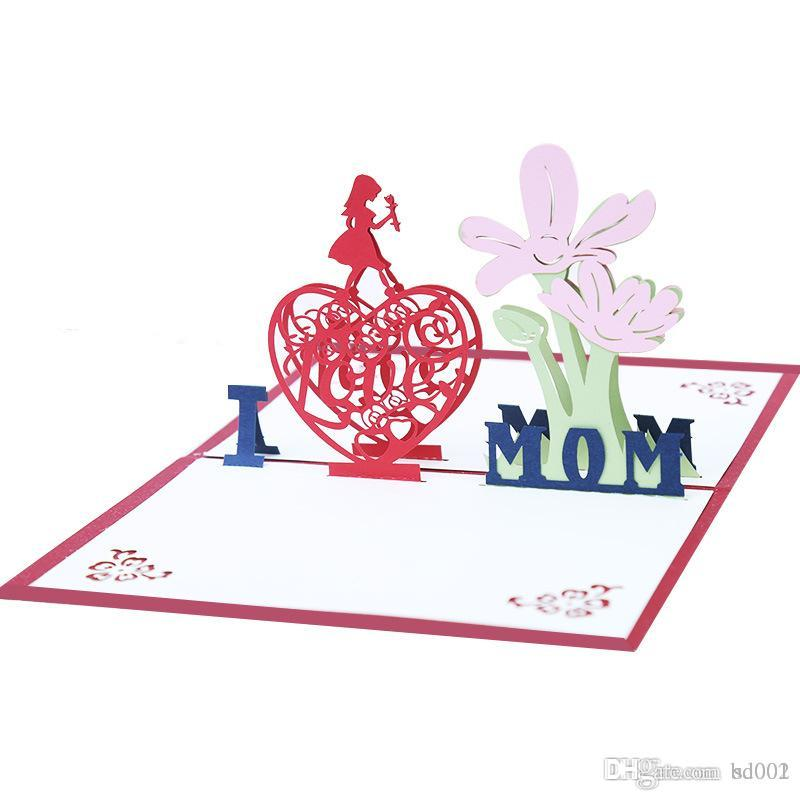 Folding 3D Pop Up Paper Blessing Card Craft Hollow Out Postcard Mother Day Greeting Cards Creative Hot Sale 5 5kk Aa Free Animated