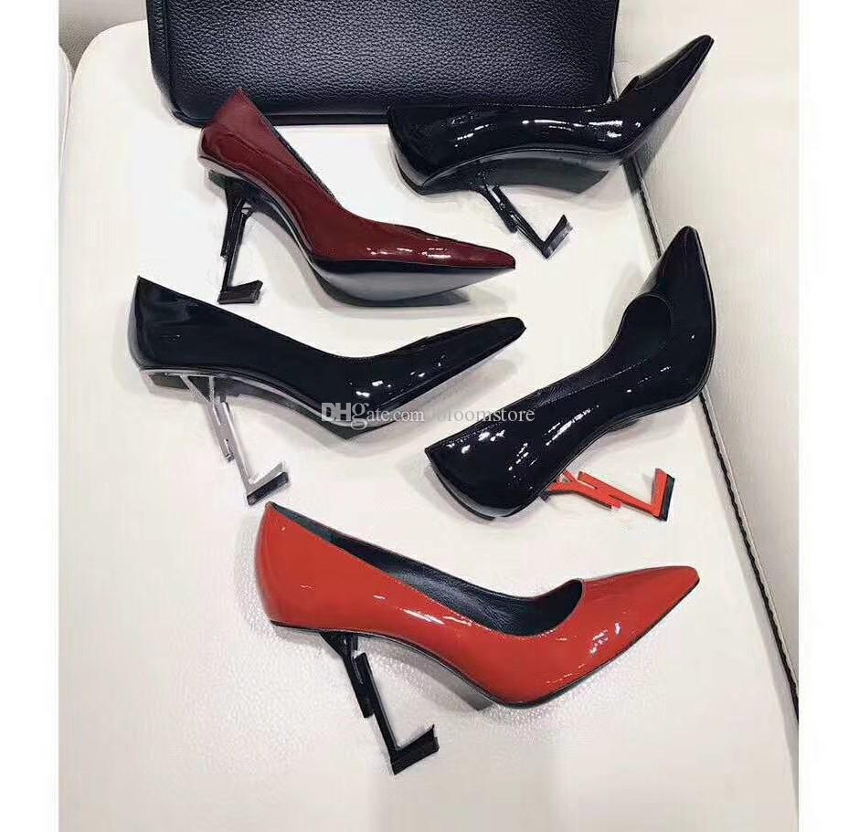 a7070691206 Sexy Black Women Patent Leather Pumps Lady Thrill High Heels Single Dress  Wedding Shoes Gold Silver Sandals Pointed Toe Pumps Size 34-44