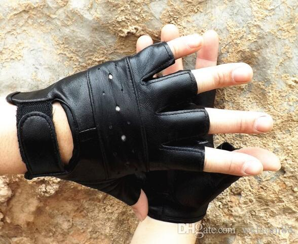 5pcs/lot Mix Styles Fashion Black Real Leather Fingerless Gloves For Dancing Motorcycle Driving Sports GL05 Free Shipping