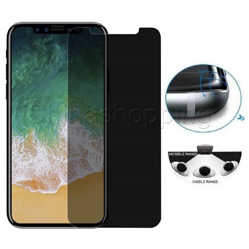 Конфиденциальность Закаленное стекло Anti-Spy Подглядывание Защитная пленка для iPhone X XR XS Макс 8 7 6 6S Plus с розничной упаковке