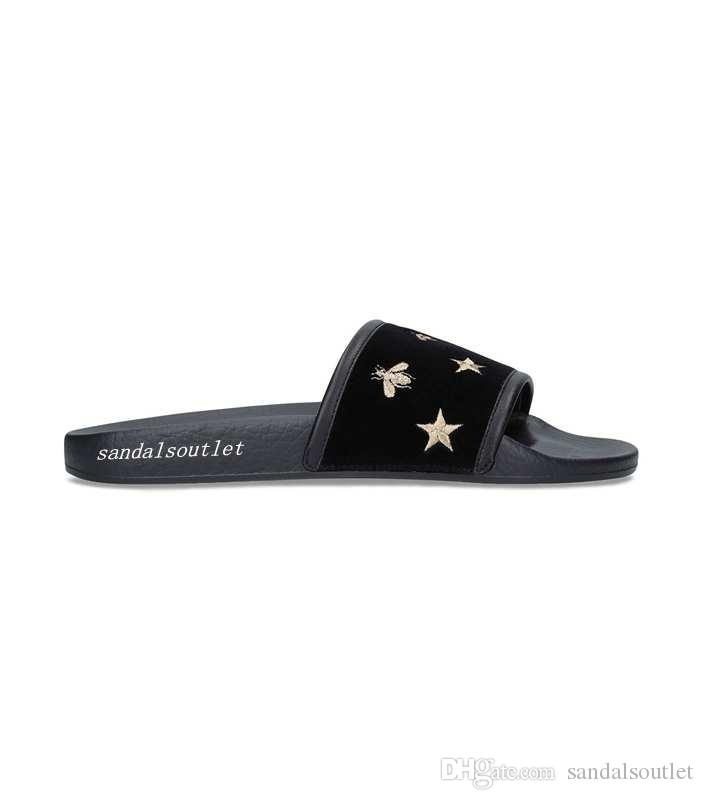 bbf5d8ef8a mens and womens fashion stars and bees Velvet Embroidered rubber slide  sandals with comfortable moulded footbeds flip flops