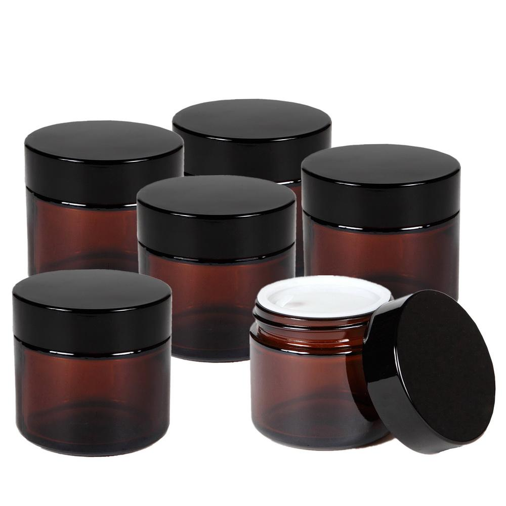 2018 Wholesale 2 Oz 50g Round Amber Glass Jar Straight Sided Cream