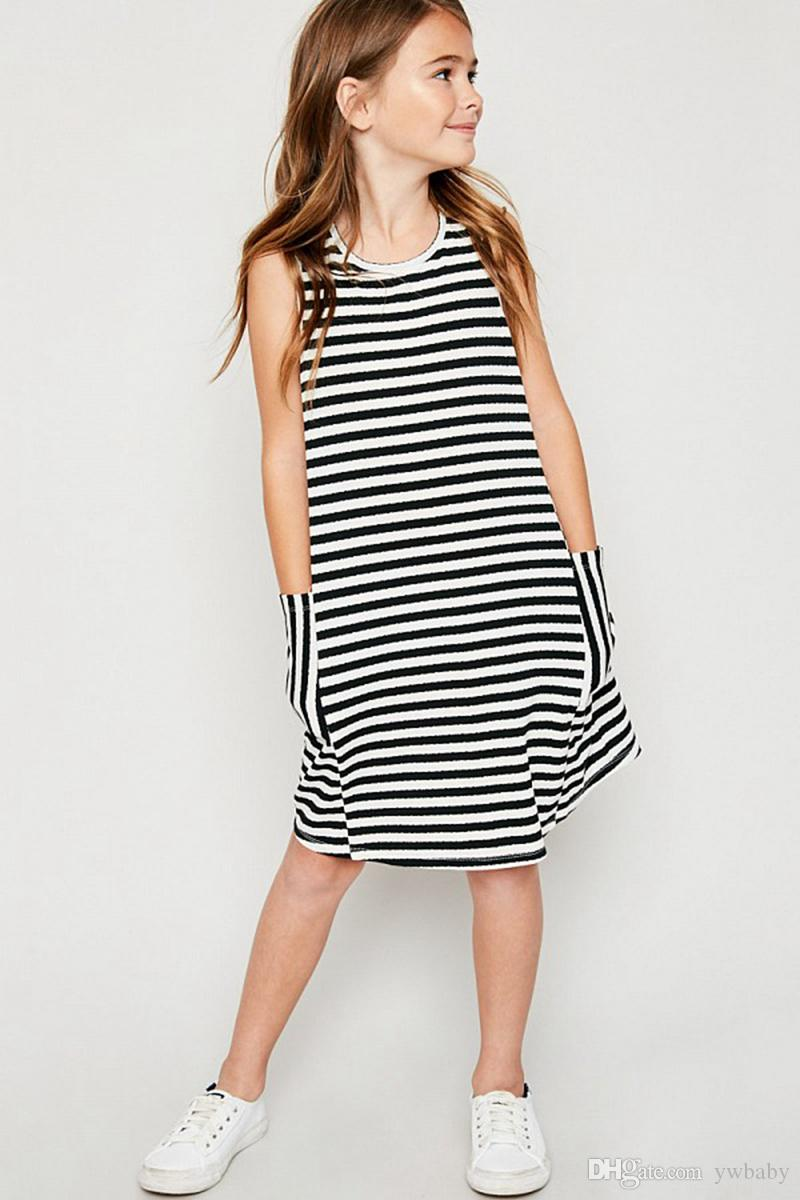 2018 Big Girls Striped dresses Teenager Cotton Sleeveless Dress Junior Fashion Casual Dress Baby Girl Clothes Kids Clothing