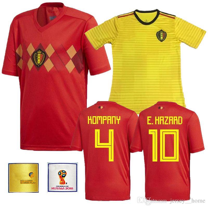 abcb94d414b85 2018 Bélgica Equipo Nacional Local Visitante LUKAKU FELLAINI E HAZARD  KOMPANY DE BRUYNE Jersey De Fútbol 18 19 Bélgica Tailandia Camisetas De  Fútbol De ...