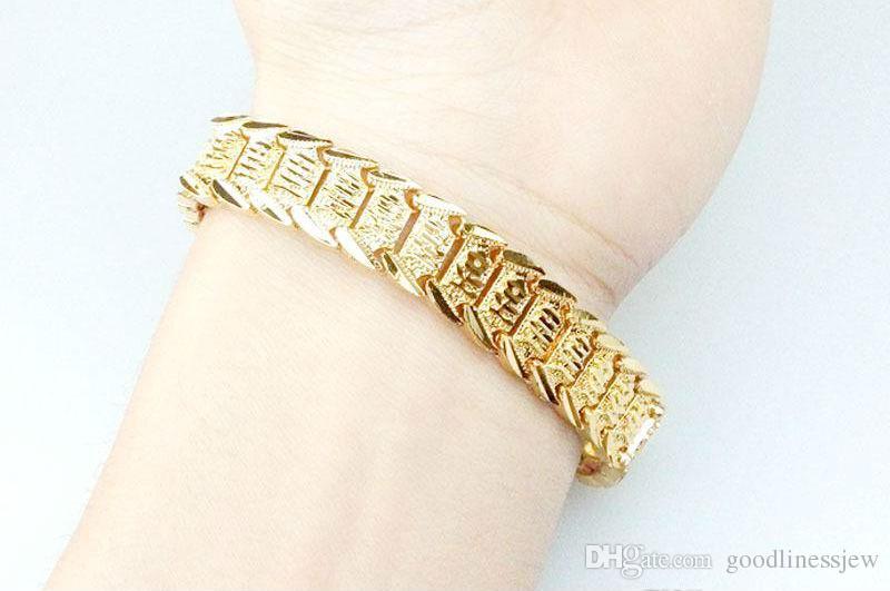 Bracelet Bracelets Joli Bracelet En Or Jaune 18K Réel Rempli De Chaîne De Montre Solide Chaîne Lien 8.3inch Or Charmes Bracelets