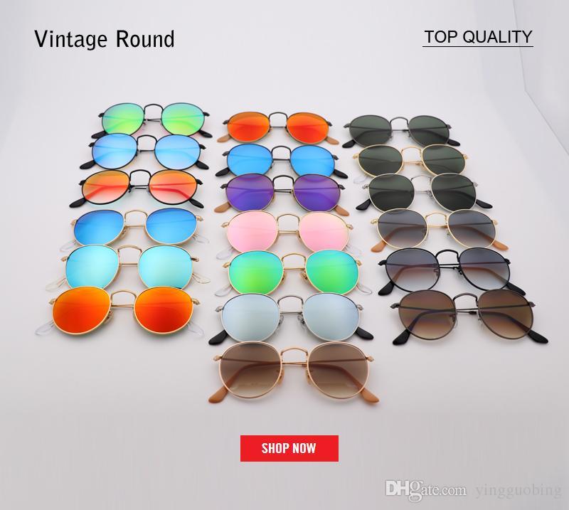 aef5f235f9ef3 2018 New Round Metal Classic G15 Glass Lens Sunglasses Designer Flash  Gradient Gafas Women Men Retro Sun Glasses Oculos De Sol UV400 Lens Sport  Sunglasses ...