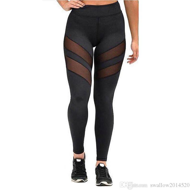 Europe station new classic black grey mesh stitching Yoga waisted Leggings tight Black Mesh Insert Patchwork Sports Leggings