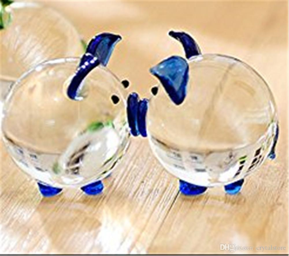 Christmas Crystal Glass Animal Pig miniature Figurines Desk Bauble Ornaments Mini Home Furniture Wedding Crafts Souvenirs