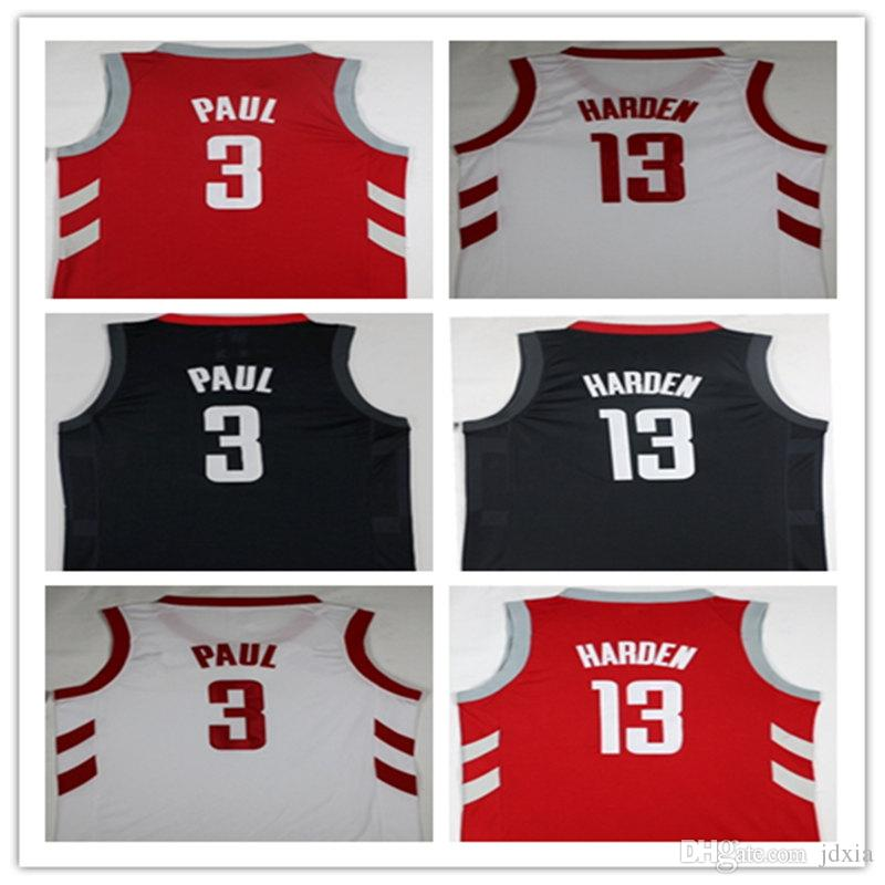 e46a8c2e7 2018 Fan 2018 New Mens 3 chris Paul Shirt 13  James Harden Jerseys New  Material Harden Red White Embroidery Basketball Jersey From Jdxia