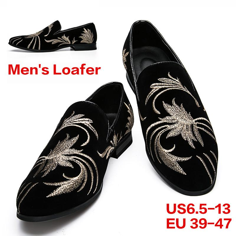 77f891173612 Men'S Designer Loafers Casual Leather Dress Shoes Evening Slip On  Embroidery Pattern Slippers Driving Flats Pointed Toe Shoes For Party Brown  Dress Shoes ...