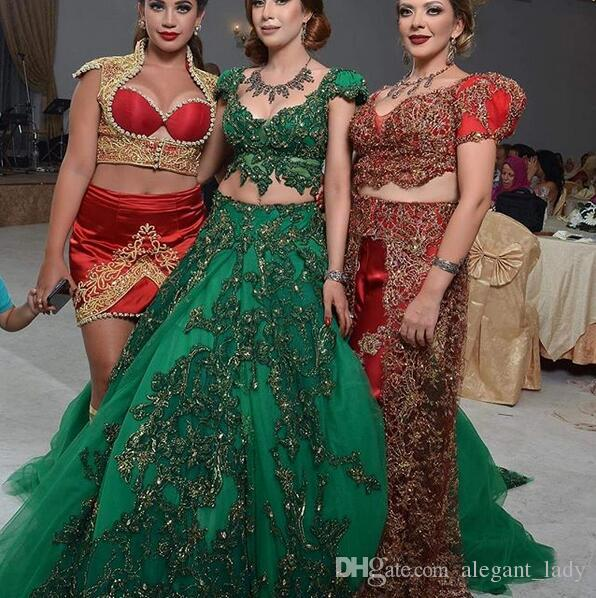 JAJJA Couture Luxury Gold Green India Style Prom Dresses with Sleeves 2018 Two Pieces Dubai Abaya Arabic Puffy Evening Wear Gowns