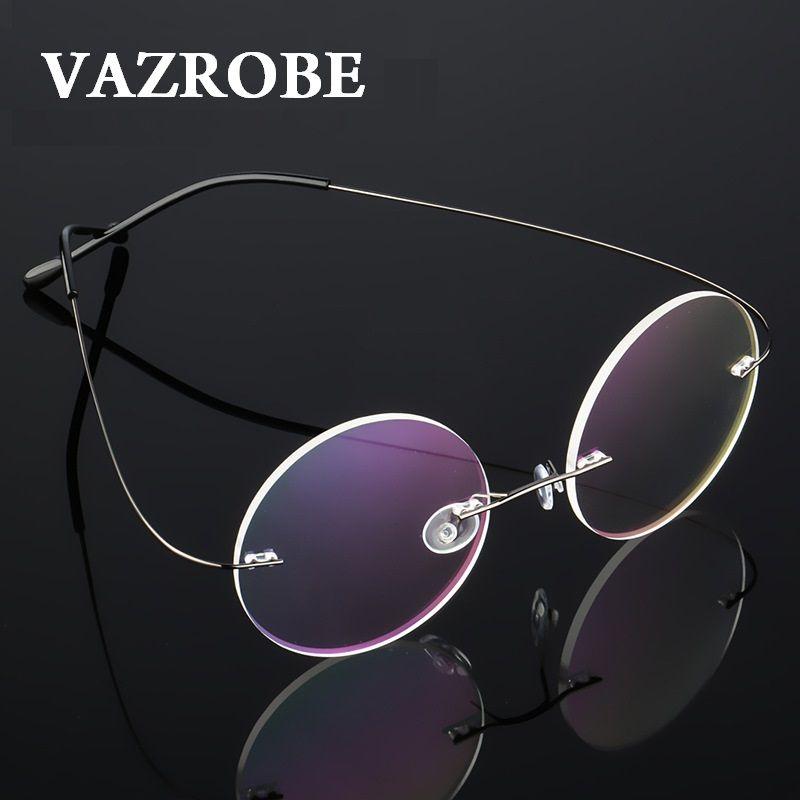 d07d2408bf18 2019 Vazrobe 8g Rimless Round Glasses Men Women 46mm Small Optical  Eyeglasses Frame Male Vintage Eyewear For Prescription Circle From Hoganr