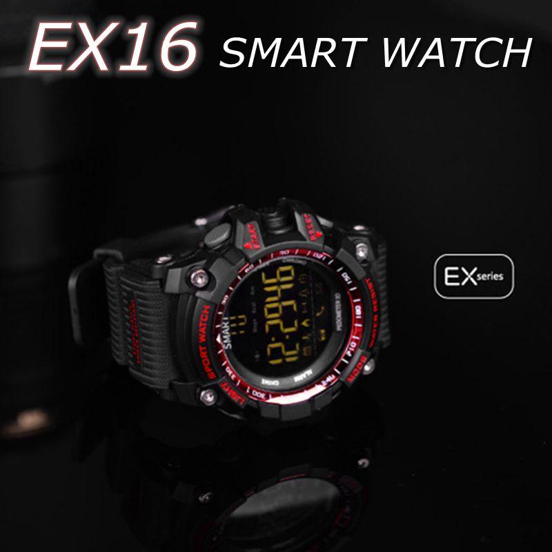 EX16 Sport smart watch buzzer sound alarm sport monitor IP67 waterproof  burned calory men watch remote camera watches