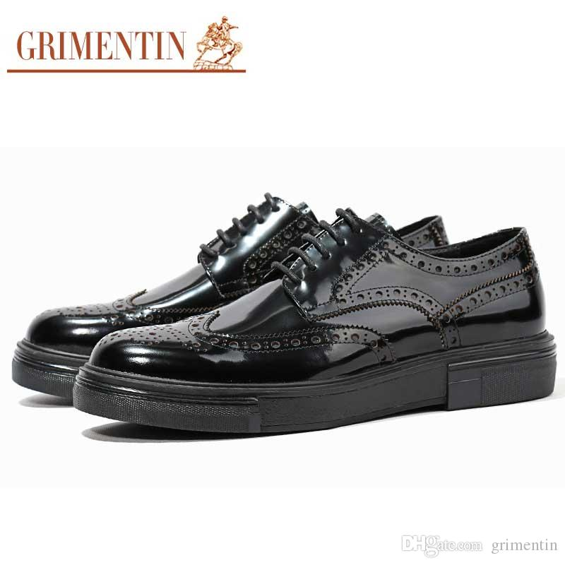 GRIMENTIN Hot sale brand handmade dress mens shoes fashion designer brown shoes patent leather wingtip carved heighten mens oxford shoes Y10