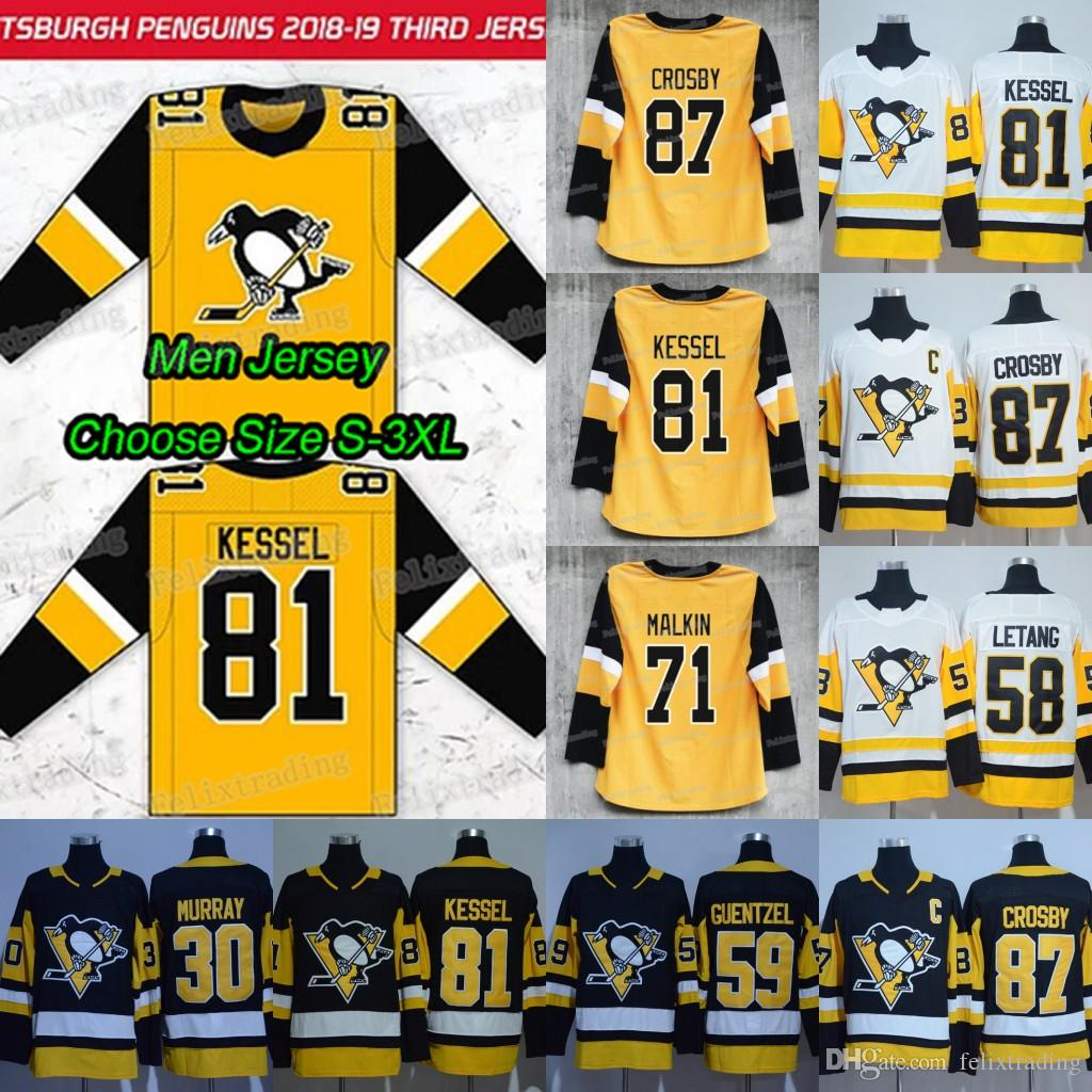 quality design 534a8 ce0c0 2019 New Third Pittsburgh Penguins 71 Evgeni Malkin Sidney Crosby 30 Matt  Murray 58 Kris Letang 81 Phil Kessel Jake Guentzel Hockey Jerseys