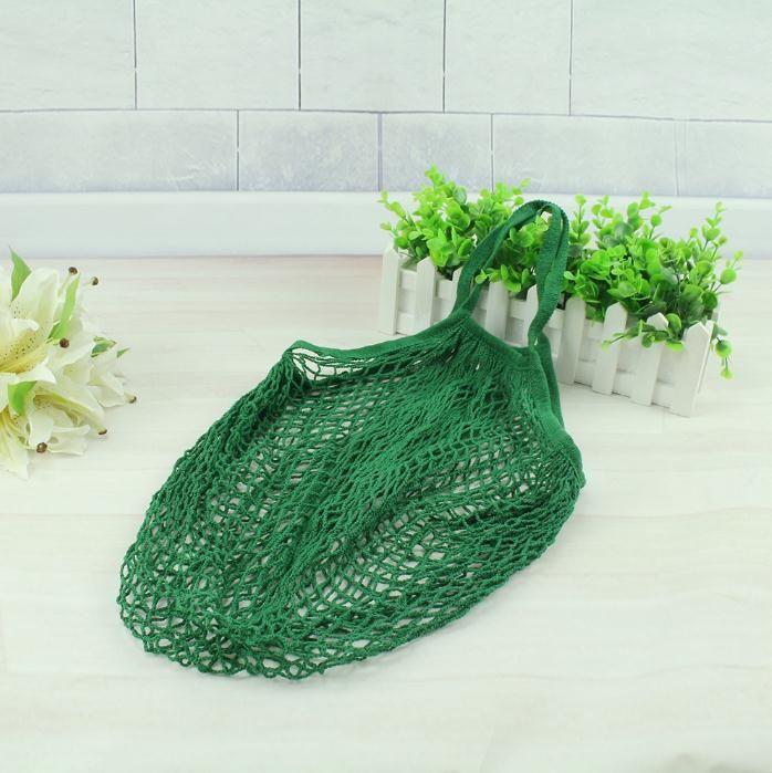 Fashion String Shopping Fruit Vegetables Grocery Bag Shopper Tote Mesh Net Woven Cotton Shoulder Bag Hand Totes Home Storage Bag SN228