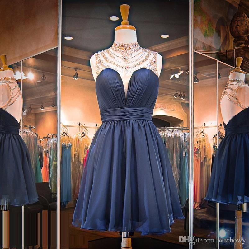 Delicate Navy Blue Prom Dresses High Neck Sleeveless Illusion Chiffon Short Open Back Homecoming Dresses With Beaded Neckline HY1634
