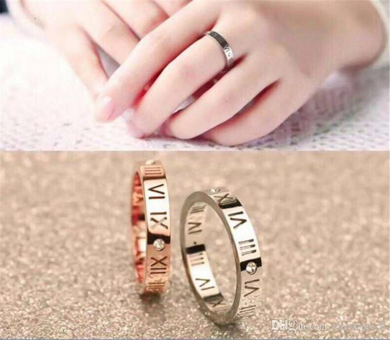 f8e83be6b2 Korean Version Of 18K Rose Gold Roman Numeral Diamond Ring Men And Women  Couple Tail Ring Ring Jewelry Wholesale Unique Engagement Rings Black  Diamond ...