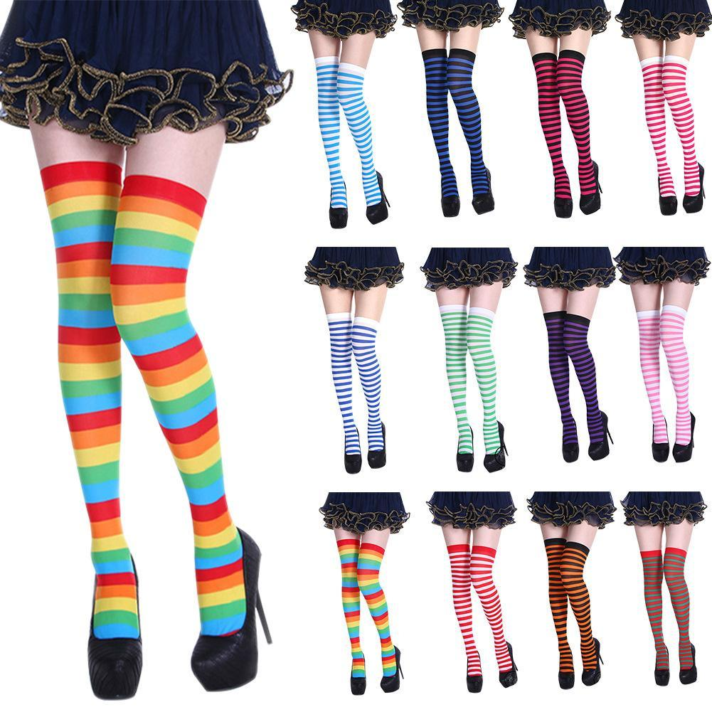 b995924ddd9 2019 Knee Socks Sexy Slim Striped Long Socks Autumn Winter Christmas  Halloween Easter Ball Party Costume Knee High From Hannahao