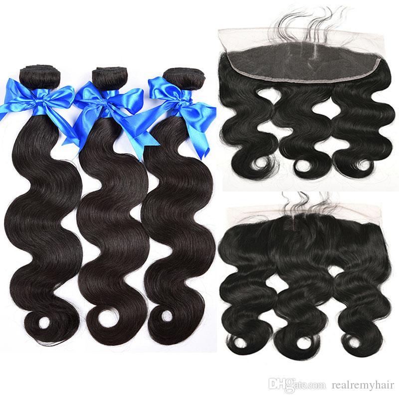 13x4 Lace Frontal with Bundles Brazilian Human Hair 3 Bundles with Frontal Closure Brazilian Body Wave Virgin Hair with 13x4 Lace Frontal