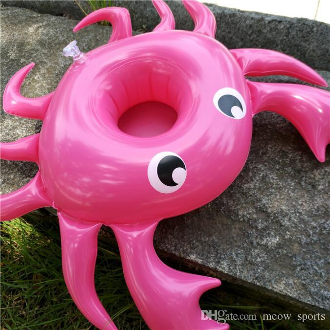 Mini Inflatable Crab Floating Cup Holder Pool Drink Holders Swim Ring Water Toys Party Beverage Boats Holder Baby Pool Toys