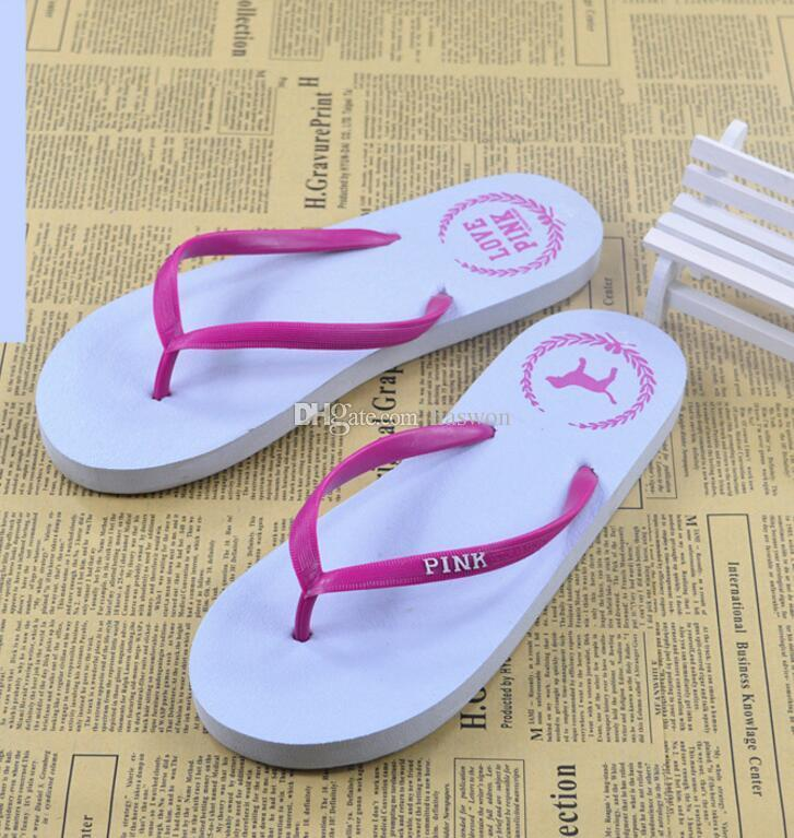Girls Pink Flip Flops Love Pink Sandals Pink Letter Beach Slippers Shoes Summer Soft Beach Slipper /pair DHL Free