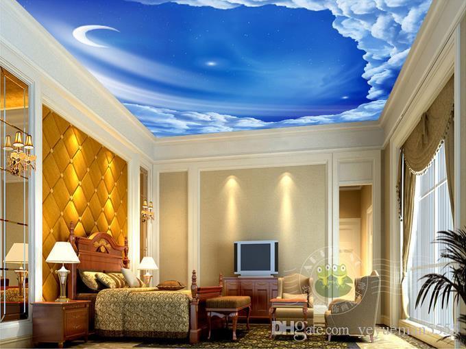 0c8be78dccfd90 Estrelas, lua, teto do céu Mural Teto 3d Mural Papel De Parede para Paredes  Sala de estar 3d Teto Murais 3d papel De Parede Adesivo