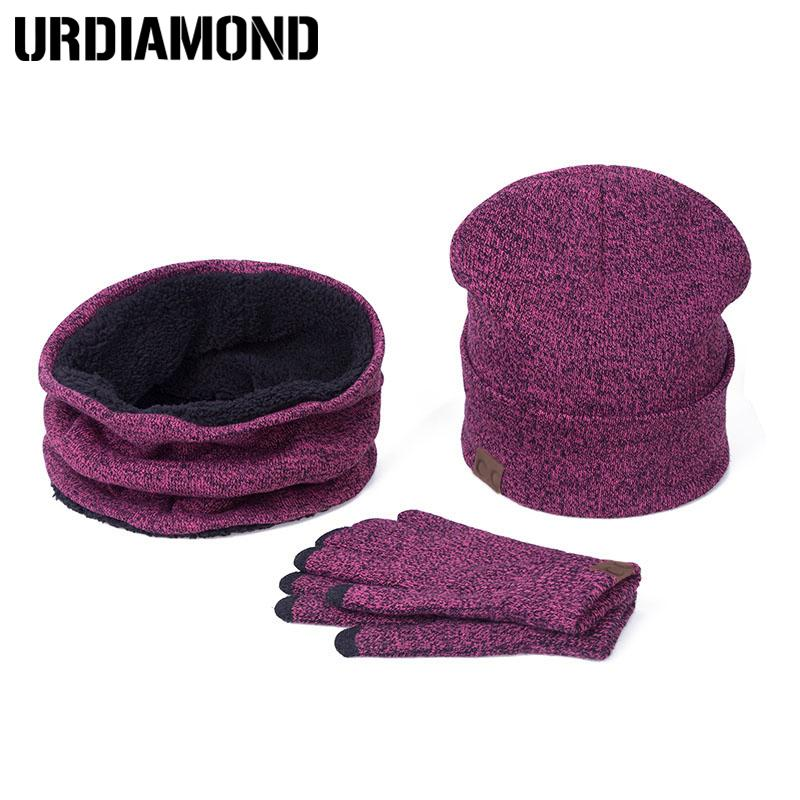 6c6f4bac021 2018 URDIAMOND Set Women Winter Hat And Gloves Sets Cotton Unisex Hat Scarf  Gloves Set Solid And Scarf For Women Men From Cloudyday