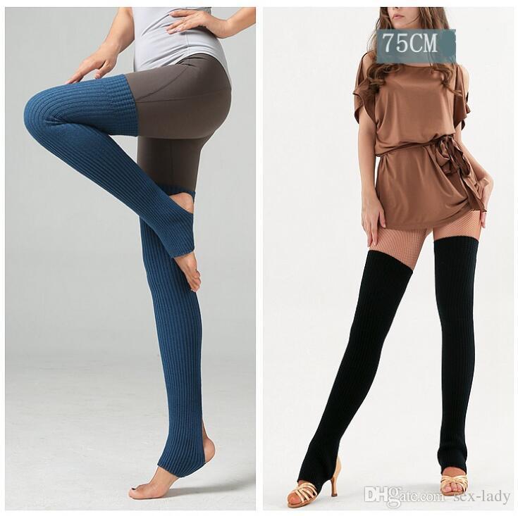 Compre Mujeres Yoga Calentadores De Pierna De Punto Largo Calcetines ...